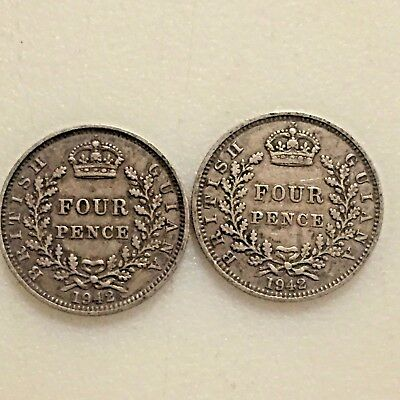 British Guiana four pence coin 1942 ~Lot of 2 Coins ~Silver 4 Pence