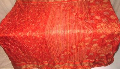 Orange Pure Silk 4 yd Vintage Antique Sari Saree UK what stores sell wrap #9A2CL
