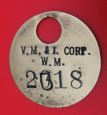 Antique Time Check Brass Tag: Valley Mould & Iron Corp; West Middlesex PA; Tool