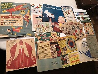 Large Lot 1950s Paper Toys Cereal Premiums Cpt. Midnight Lone Ranger Game Pieces