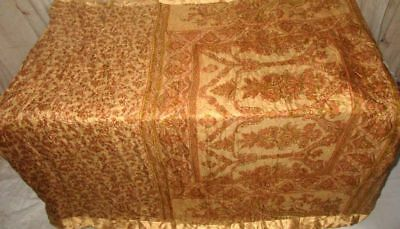 Cream Brown Pure Silk 4 yard Vintage Sari Saree daily deals Pallu Italy #9A2ER
