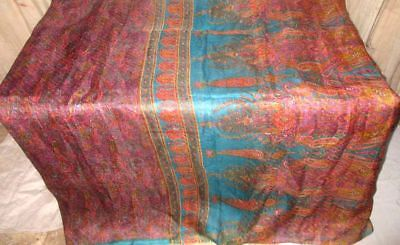Lavendar Aqua Pure Silk 4 yd Vintage Antique Sari Saree Quality summer US #9A2FO