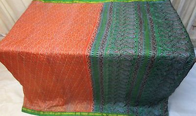 Orange Green Pure Silk 4 yd Vintage Antique Sari Saree exclusive seller #9A2GF