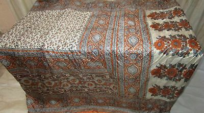 Brown Off-white Pure Silk 4 yard Vintage Sari Saree Designer photo Canada #9A2GQ