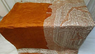 Brown Cream Pure Silk 4 yard Vintage Sari Saree Pattern Patterns Girl Hip #9A2H8