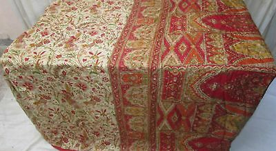 Red Cream Pure Silk 4 yard Vintage Sari Saree HOT BARGAIN DEAL Girls Chic #9A2HN