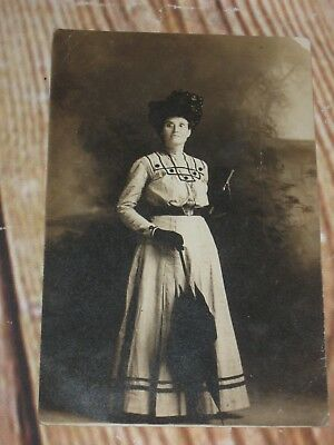 Vintage Antique Photo Lady W/Great Hat,Umbrella,Purse & Dress Early 1900s 1910