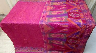 Magenta Pure Silk 4 yard Vintage Sari Saree Free ebay.com cutting Europe #9A2I2