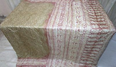 Light Henna Coffee Pure Silk 4 yard Vintage Sari Saree Haute Costumes Hot #9A2I4
