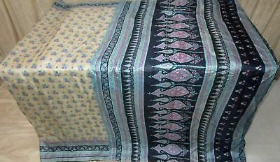 Cream Navy Blue Pure Silk 4 yard Vintage Sari Saree HOT BARGAIN Home Work #9A2IG
