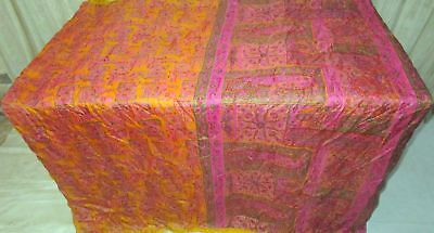 Golden Rani Pure Silk 4 yard Vintage Sari Saree Ladies Bride measurement #9A2IN
