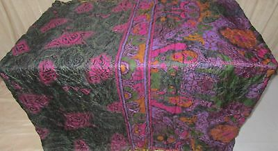 Black Magenta Pure Silk 4 yard Vintage Sari Saree Piece Ebay low bid Deal #9A2IS