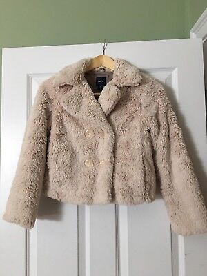 NWTS Girls Gap Kids Cream Holiday Faux Fur Coat Button Up Size 10