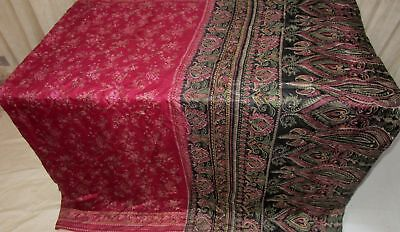 Black Maroon Pure Silk 4 yd Vintage Antique Sari Saree .com Beauty Hot UK #9A2JF