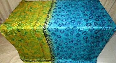 Yellow Aqua Pure Silk 4 yard Vintage Sari Saree Wedding spring Sheet Desi #9A2JP