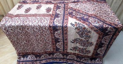 Off-white Navy Blue Pure Silk 4 yard Vintage Sari Saree Project Shari Hot #9A2K2