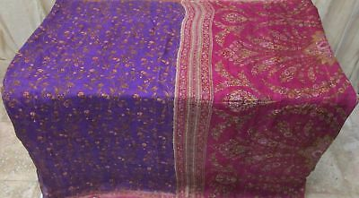 Violet Magenta Pure Silk 4 yd Vintage Sari Saree Pattern Pretty Exclusive #9A2L7