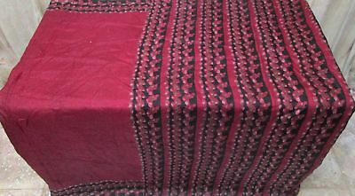 Maroon Black Pure Silk 4 yd Vintage Antique Sari Saree engagement Festive #9A2LR