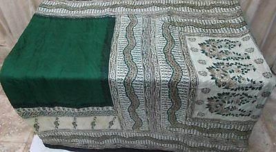 Green Cream Pure Silk 4 yard Vintage Sari Saree Gifts buying Sheet Saris #9A2LY