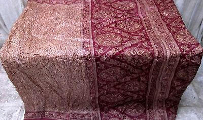 Light Coffee Maroon Pure Silk Antique Sari Saree SALE Dress fair postage #9A2MD
