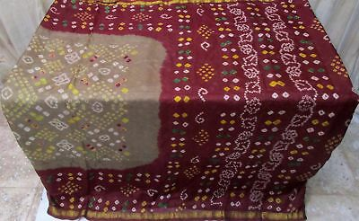 Grey Maroon Pure Silk 4 yard Vintage Sari Saree Casual latest collection #9A2MO