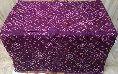 Dark Magenta Pure Silk 4 yd Vintage Antique Sari Saree picture Special UK #9A2N7