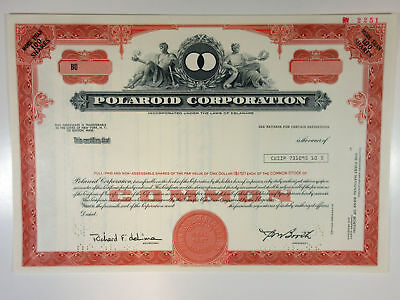 Polaroid Corp. 1986 Specimen Stock Certificate >100 shares XF SCBN Red