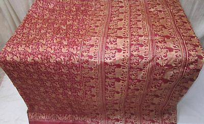 Light Coffee Maroon Pure Silk 4 yard Vintage Sari Saree Womens Apparel UK #9A2OB