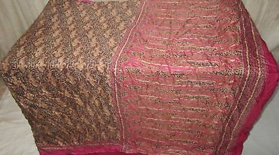 Black Magenta Pure Silk 4 yard Vintage Sari Saree Piece .com NR Safe Buy #9A2OK