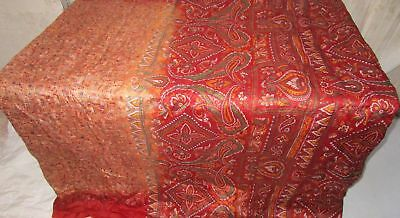 Rust Peach Pure Silk 4 yard Vintage Sari Saree Multipurpose rabatt global #9A2PC