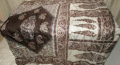 Coffee Off-white Pure Silk 4 yard Vintage Sari Saree HOT BARGAIN Birthday #9A2QC