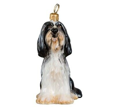 Bearded Collie Sitting Dog Polish Blown Glass Christmas Ornament
