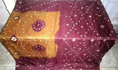 Henna Coffee Pure Silk 4 yard Vintage Sari Saree Value Where to buy Home #9A2R4