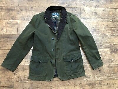Men's Barbour Lutz Olive Wax Country Sports Jacket Small Ex Cond!