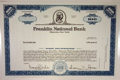 Franklin National Bank, 1968 100 Shrs Common Stock Specimen Certificate, XF