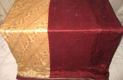 Cream Maroon Pure Silk 4 yard Vintage Sari Saree Pattern Patterns Drape #9A2SL