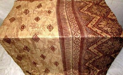 Cream Coffee Pure Silk 4 yard Vintage Sari Saree Pattern Patterns Exotic #9A2U2