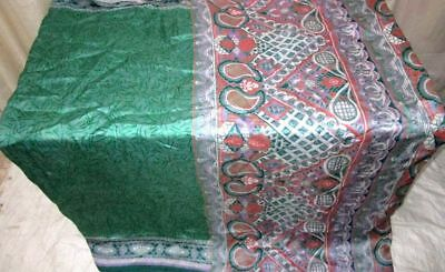 Green Peach Pure Silk 4 yard Vintage Sari Saree Americas Beauty Designs #9A2VL