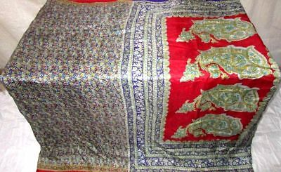 Violet Red Pure Silk 4 yard Vintage Sari Saree Buy With Confidence Fabric #9A2VV