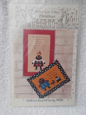 Craft Sewing Pattern Alley Cat Primitive Rooster on My Head Applique Quilt Panel
