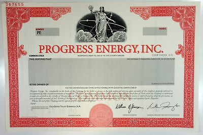 NC. Progress Energy, Inc., 2000 Odd Shrs Common Stock Specimen Certificate, XF