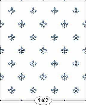 Dollhouse Wallpaper 1:12 Scale - Princess - Fleur De Lis Blue On White - 1457