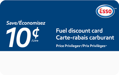 ESSO Gas Price Priveleges Card - SAVE 10 cents per litre!  $20 total value!!
