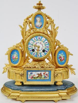Beautiful Antique French 8 Day Gilt Metal & 5 Blue Sevres Porcelain Mantle Clock