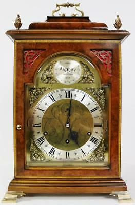 Rare Comitti Asprey London Burr Walnut Triple Chime 9 Bell Musical Bracket Clock