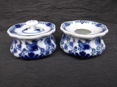 220 / Pair Of Bird And Flower Blue & White Early 19Th Century Meissen Inkwells
