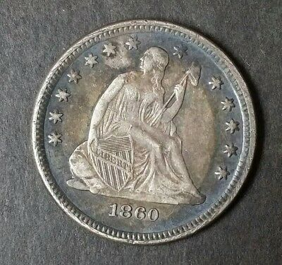 BEAUTIFUL 1860 O Seated Liberty Quarter Dollar - Rare *Free Shipping*