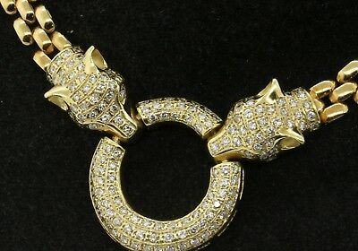 Heavy 14K gold Italy 3CT VS diamond double panther head circle pendant necklace