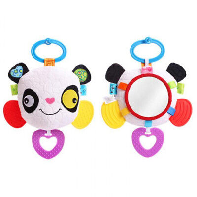 Baby Plush Stuffed Animal Rattle Ring Soft Toy Hanging Teether with Mirror CB