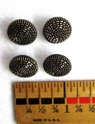 """2 Antique Round Black Glass & Gold Luster Concentric Circles Buttons 1/2"""""""